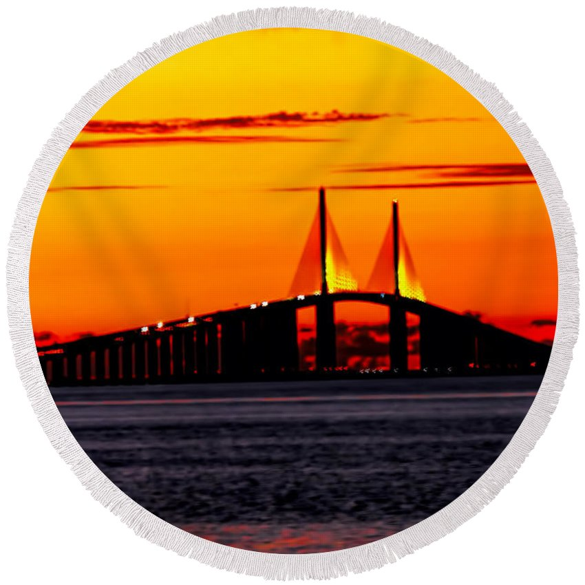 Skyway Bridge Round Beach Towel featuring the photograph Sunset Over The Skyway Bridge Crop by Barbara Bowen