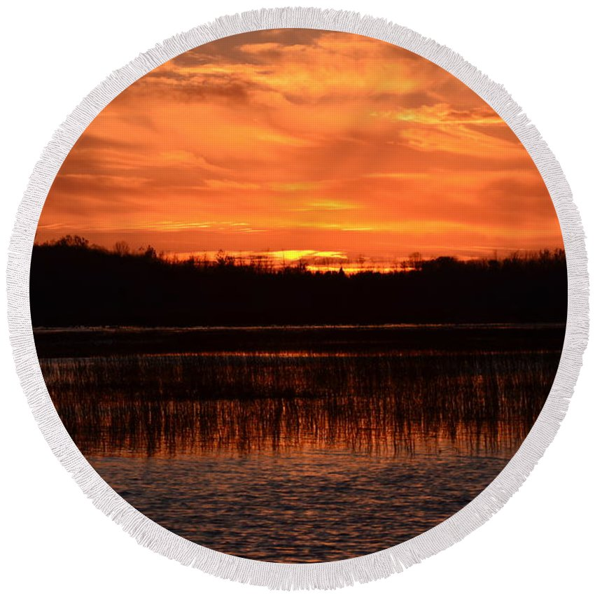 Nature Round Beach Towel featuring the photograph Sunset Over Tiny Marsh by David Porteus