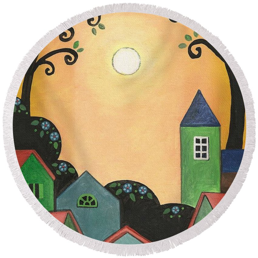 Print Round Beach Towel featuring the painting Sunset Over Town by Margaryta Yermolayeva