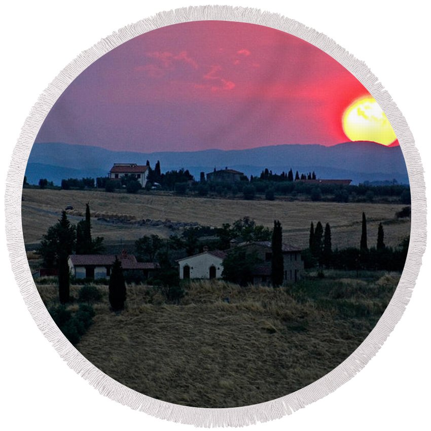 Hill Round Beach Towel featuring the photograph Sunset Over Tuscany In Italy by Tim Holt