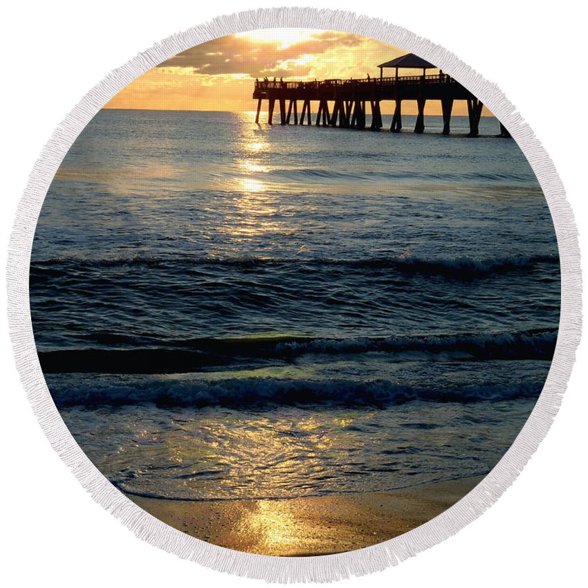 Pier Round Beach Towel featuring the photograph Sunset Pier by Carey Chen