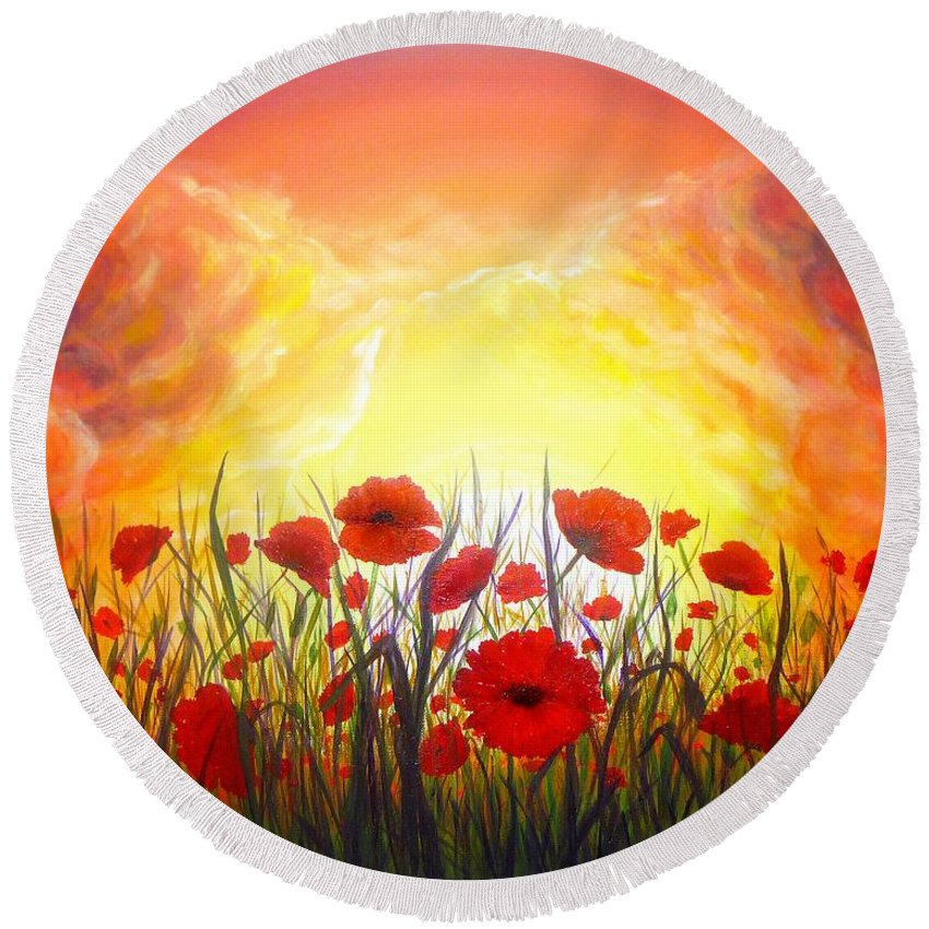 Original Art Round Beach Towel featuring the painting Sunset Poppies by Lilia D