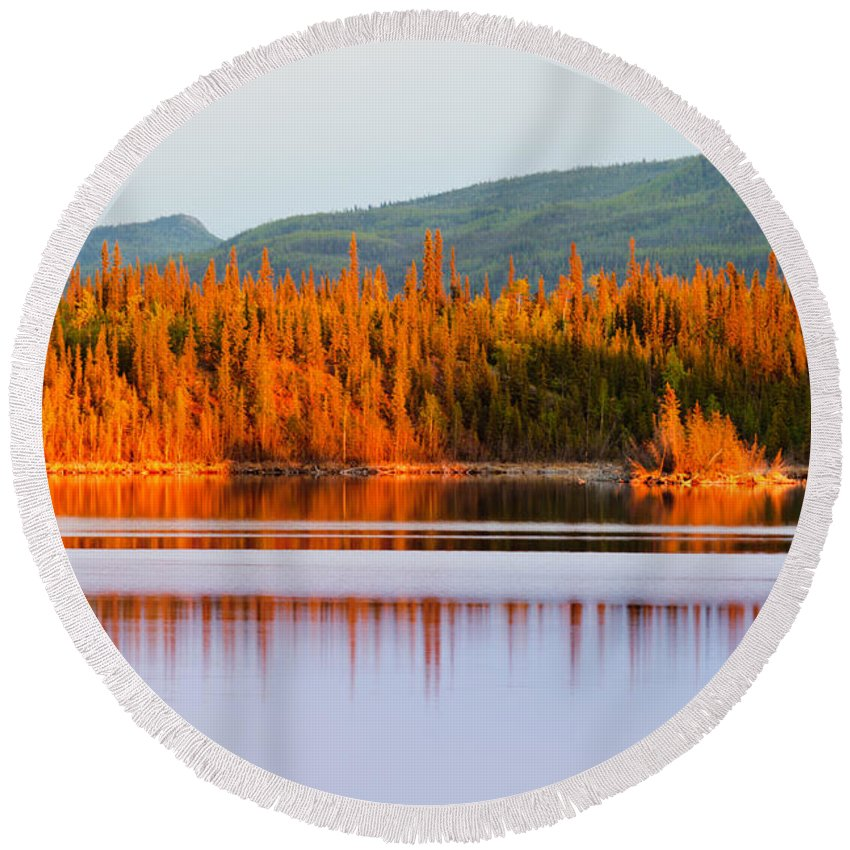 Beautiful Round Beach Towel featuring the photograph Sunset Reflections On Boreal Forest Lake In Yukon by Stephan Pietzko