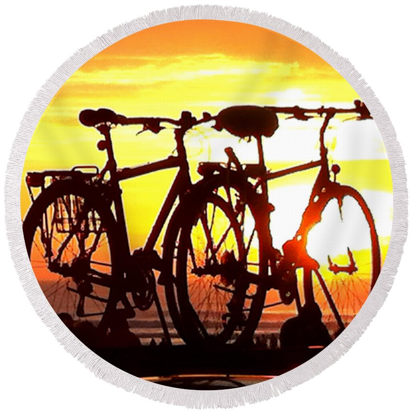 Bikes Round Beach Towel featuring the photograph Sunset Ride by Donna Blackhall