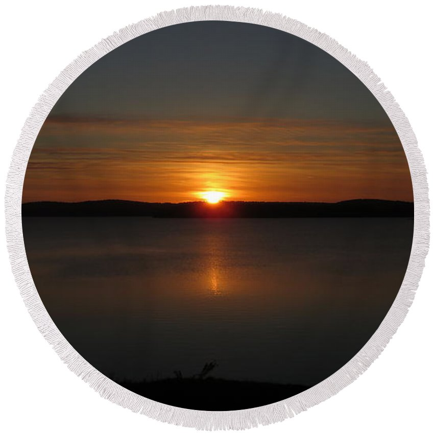 Sunset Round Beach Towel featuring the photograph Sunset by Ronald Raymond