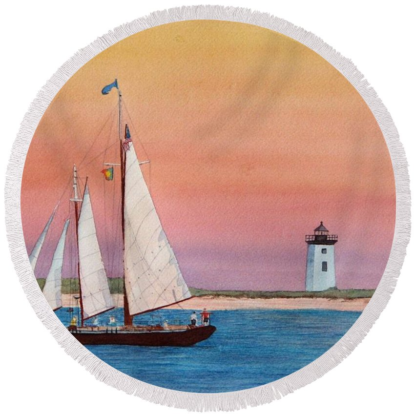 Sailboat Round Beach Towel featuring the painting Sunset Sail by Sharon Farber