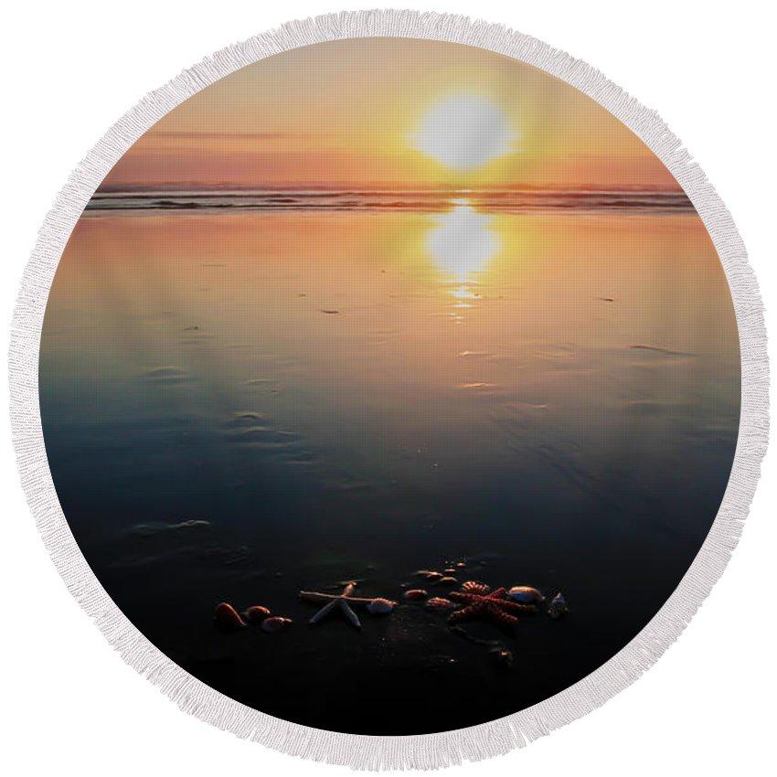 Sunset Round Beach Towel featuring the photograph Sunset Seashells by Athena Mckinzie