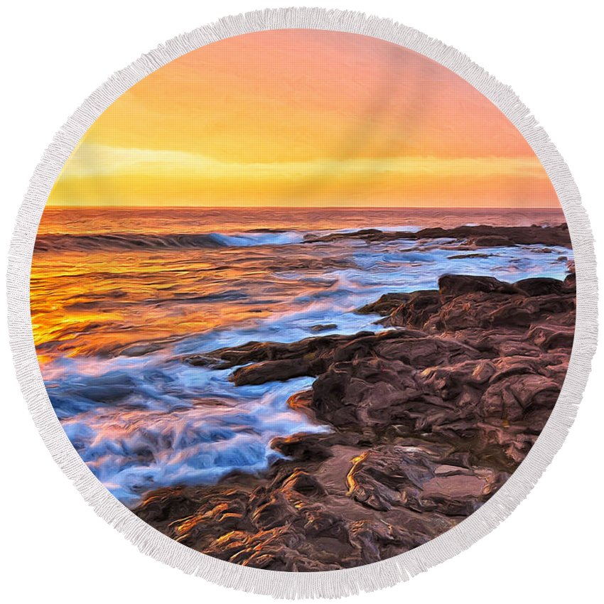 Sunset Round Beach Towel featuring the painting Sunset Shore Break by Dominic Piperata