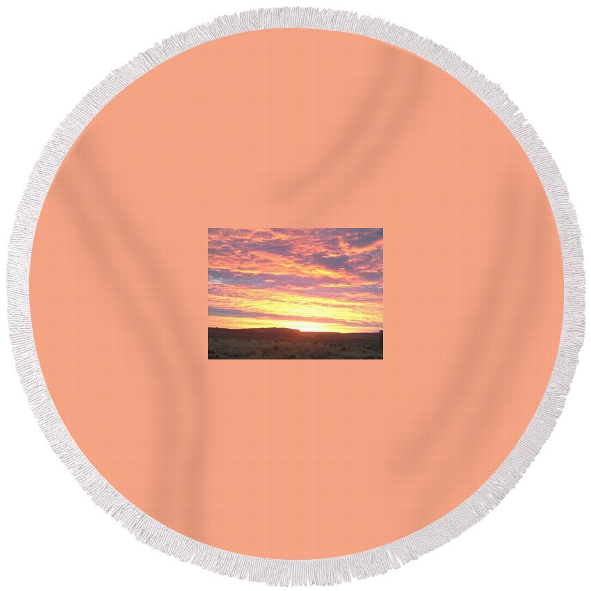 Orange Sunset On The Reservation Round Beach Towel featuring the photograph Sunset by Sonya Begay