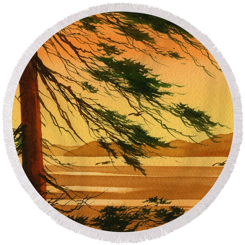 Landscape Fine Art Print Round Beach Towel featuring the painting Sunset Splendor by James Williamson