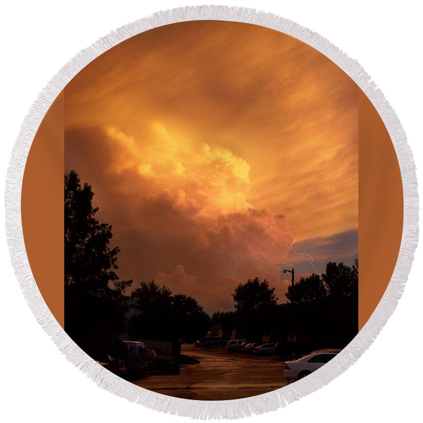 Sunset Round Beach Towel featuring the photograph Sunset Storm by Nick Mosher