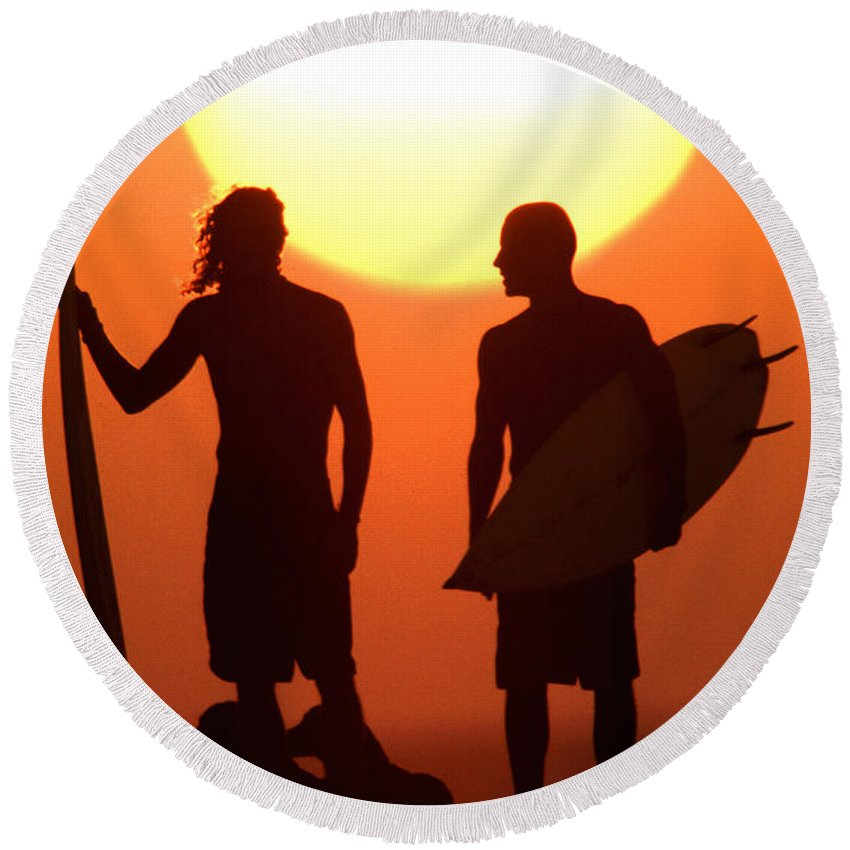 Surf Lifestyle Round Beach Towel featuring the photograph Sunset Surfers by Sean Davey