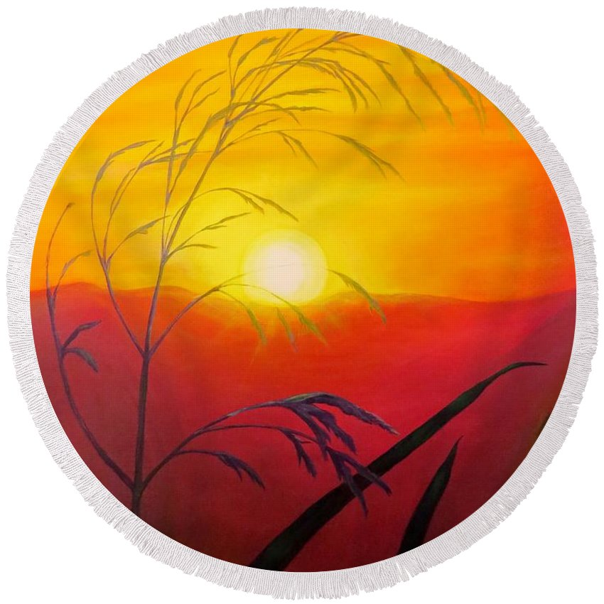 Sunset Round Beach Towel featuring the painting Sunset Through The Grass by Zina Stromberg