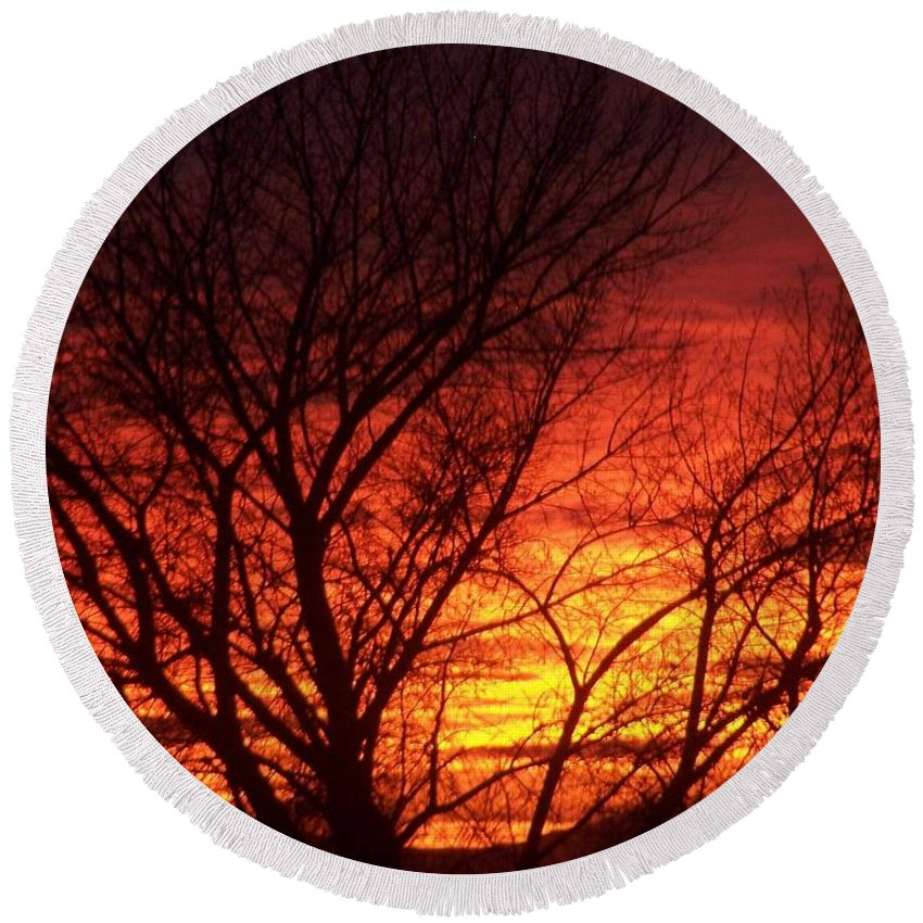 Sunset Tree Round Beach Towel featuring the photograph Sunset Tree by Jennifer Allen