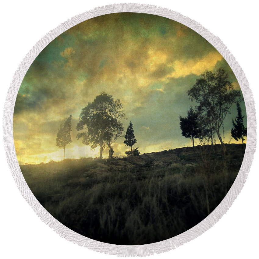 Nature Round Beach Towel featuring the photograph Sunset Trip II by Zapista