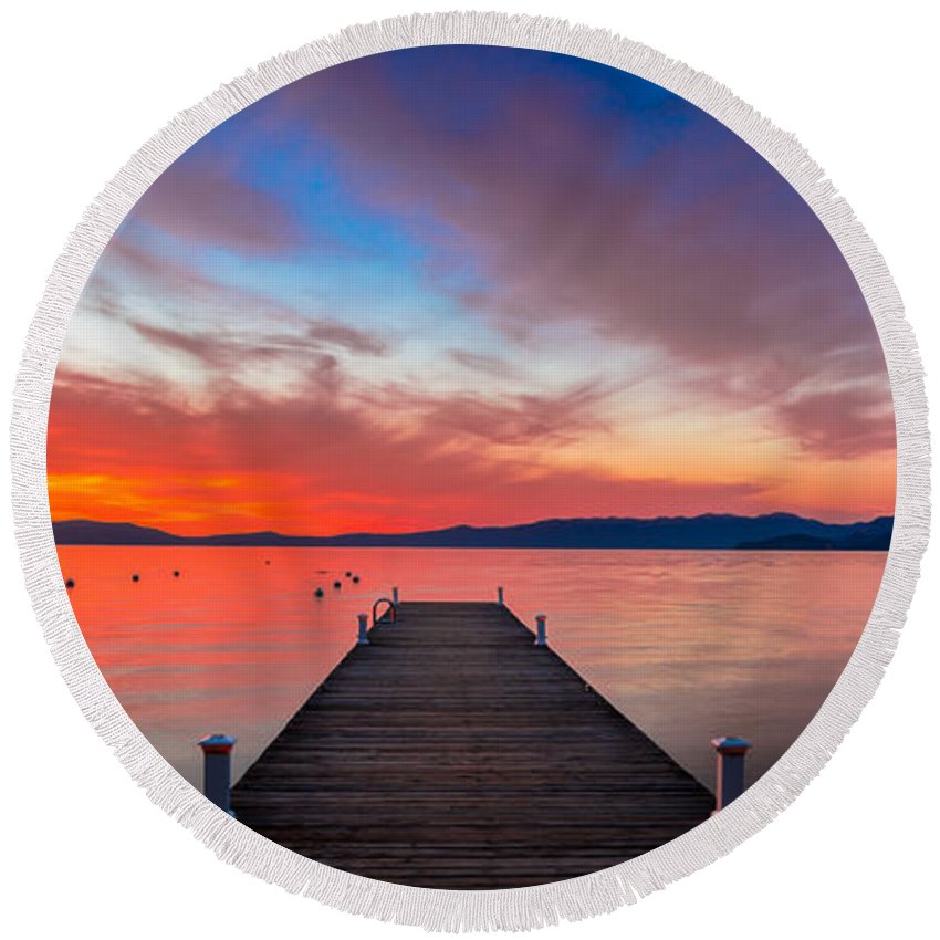 Sunset Round Beach Towel featuring the photograph Sunset Walkway by Edgars Erglis