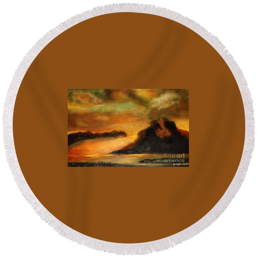 Sunset Round Beach Towel featuring the painting Sunset by Yael VanGruber
