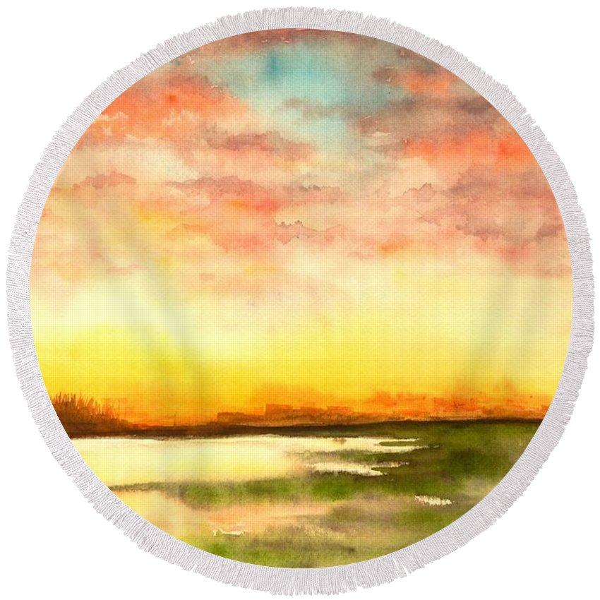 Sunset Round Beach Towel featuring the painting Sunset by Yoshiko Mishina