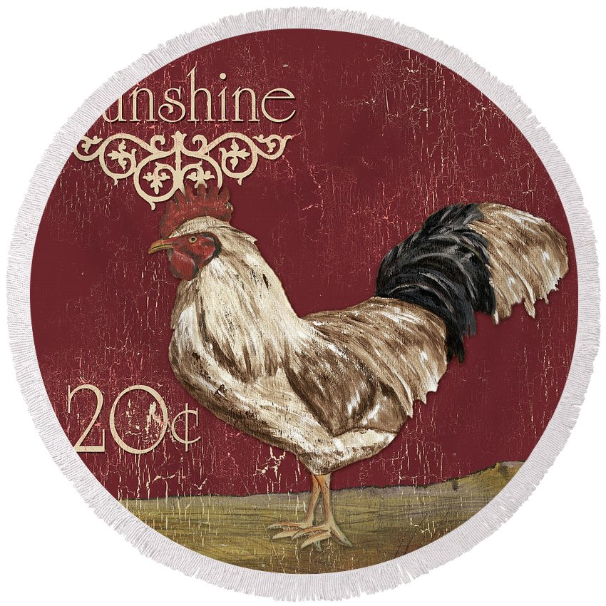 Rooster Round Beach Towel featuring the painting Sunshine Rooster by Debbie DeWitt
