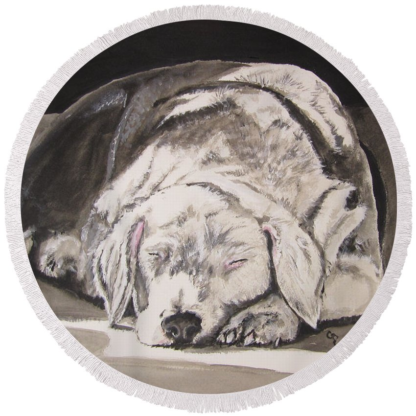 Old English Sheepdog Round Beach Towel featuring the painting Sunspot by Carol Blackhurst