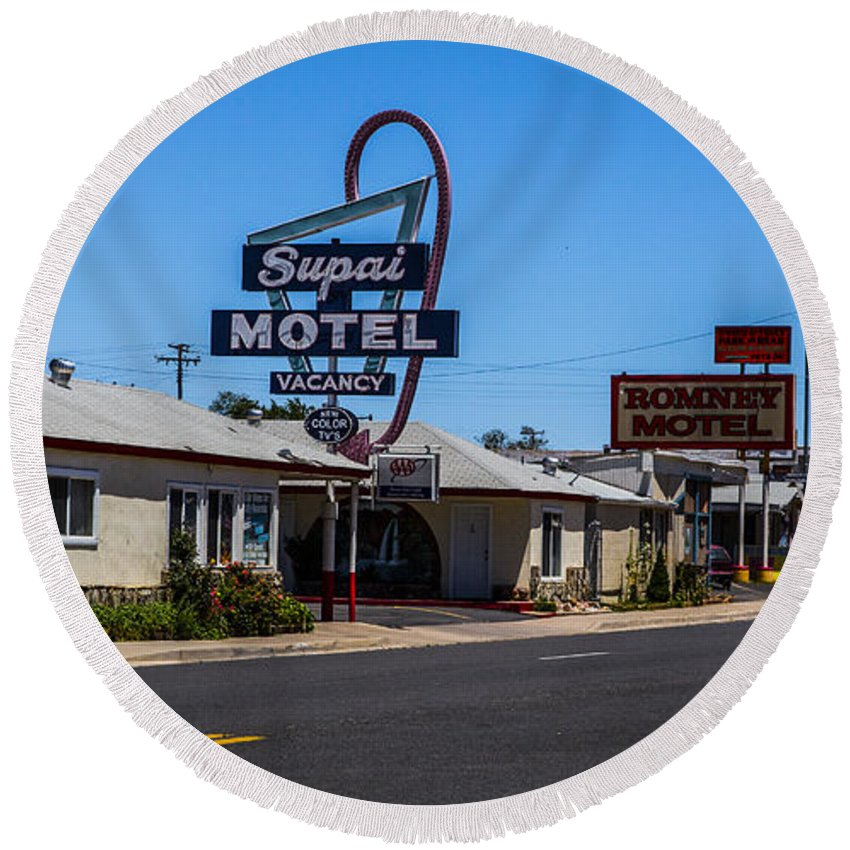 Route 66 Round Beach Towel featuring the photograph Supai Motel by Angus Hooper Iii