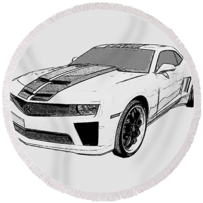 Camaro Round Beach Towel featuring the digital art Super Bee Camaro by Tommy Anderson