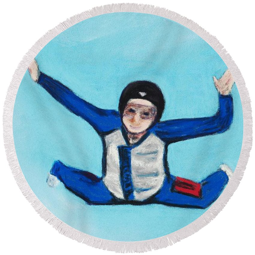 Position Round Beach Towel featuring the pastel Super Kid by Anastasiya Malakhova