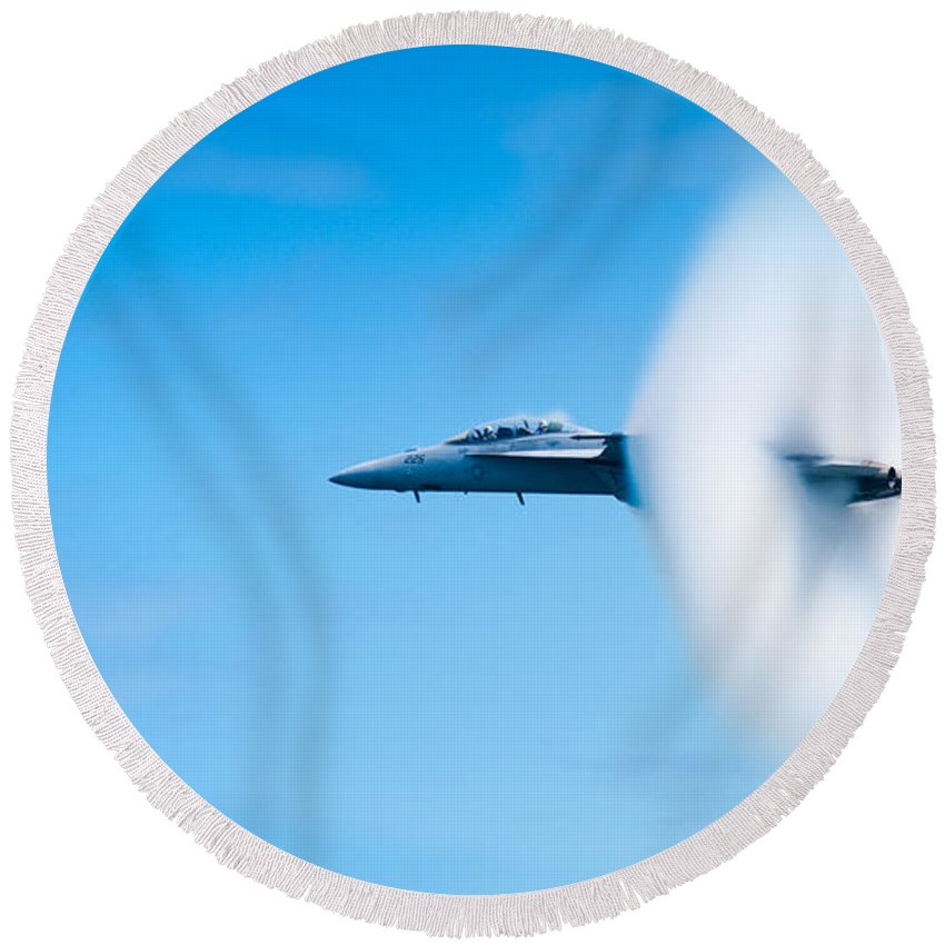 F18 Round Beach Towel featuring the photograph Super Sonic by Sebastian Musial