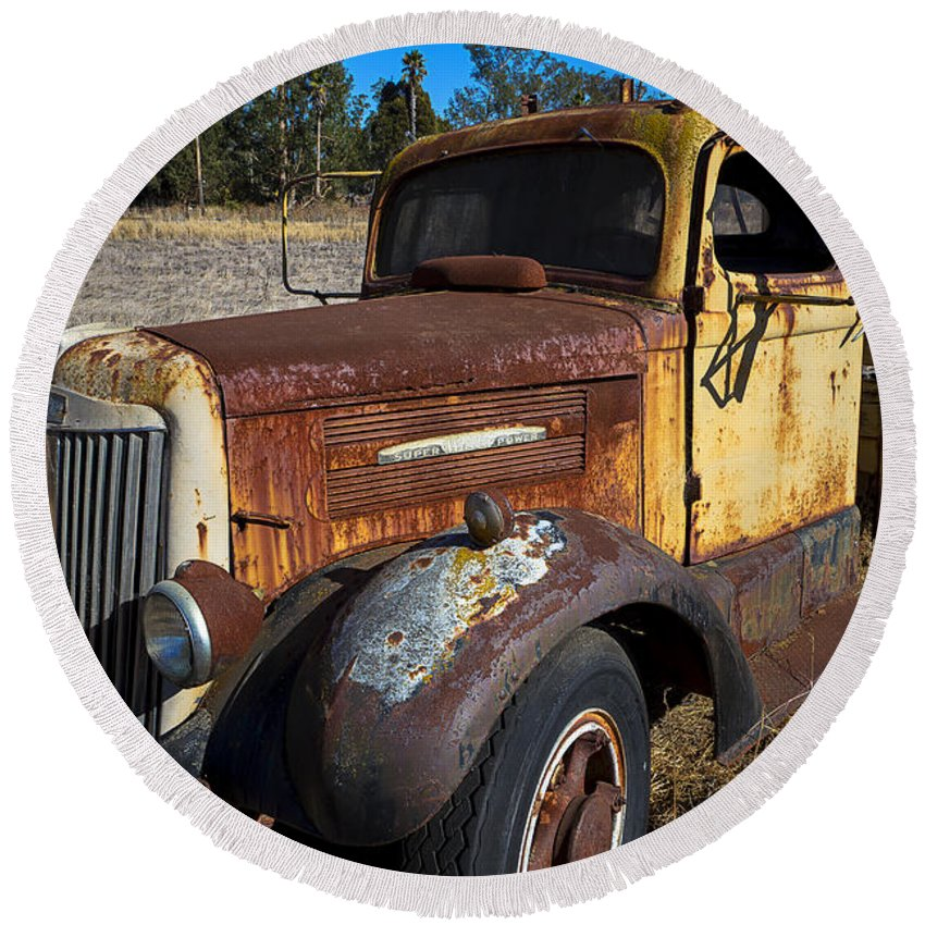 Super White Truck Truck Rusty Transportation Broken Down Round Beach Towel featuring the photograph Super White Truck by Garry Gay