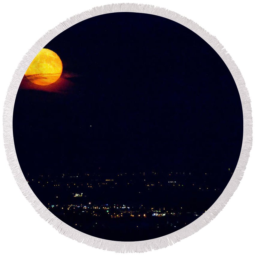 Supermoon Round Beach Towel featuring the photograph Supermoon 2 by James BO Insogna