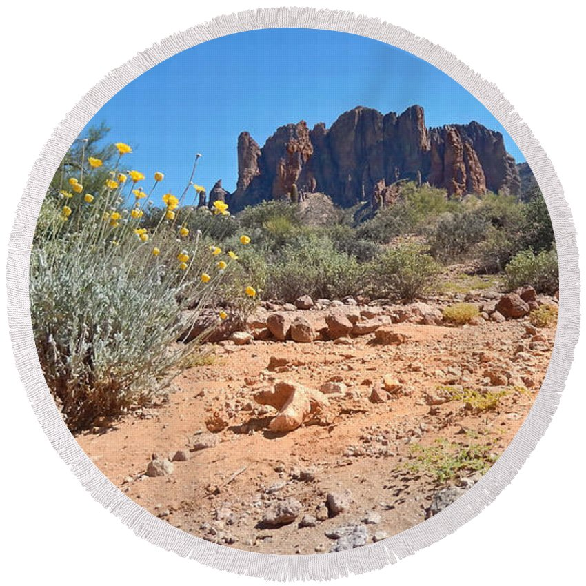 Landscape Round Beach Towel featuring the photograph Superstition Mountains by Heather Coen