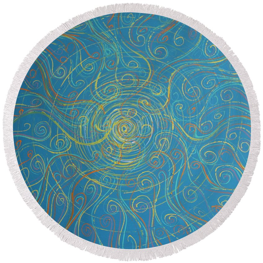 Impressionism Round Beach Towel featuring the painting Superstrings Of The Qark by Stefan Duncan