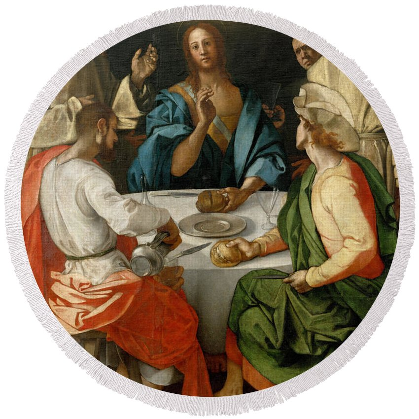 1525 Round Beach Towel featuring the painting Supper At Emmaus by Jacopo Pontormo