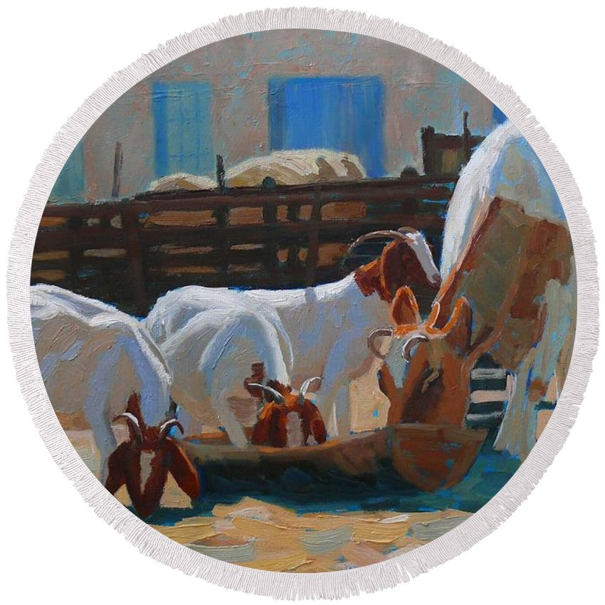 Cows Round Beach Towel featuring the painting Supper Time by Aurelia Sieberhagen