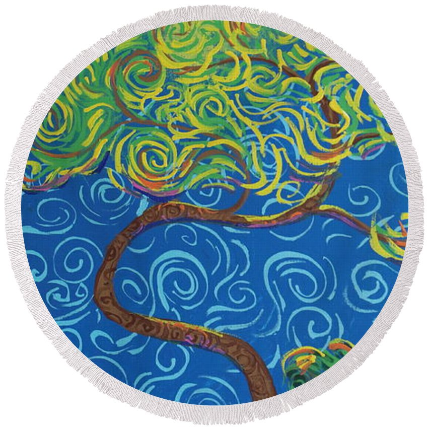 Landscape Round Beach Towel featuring the painting Supporting The Glow by Stefan Duncan