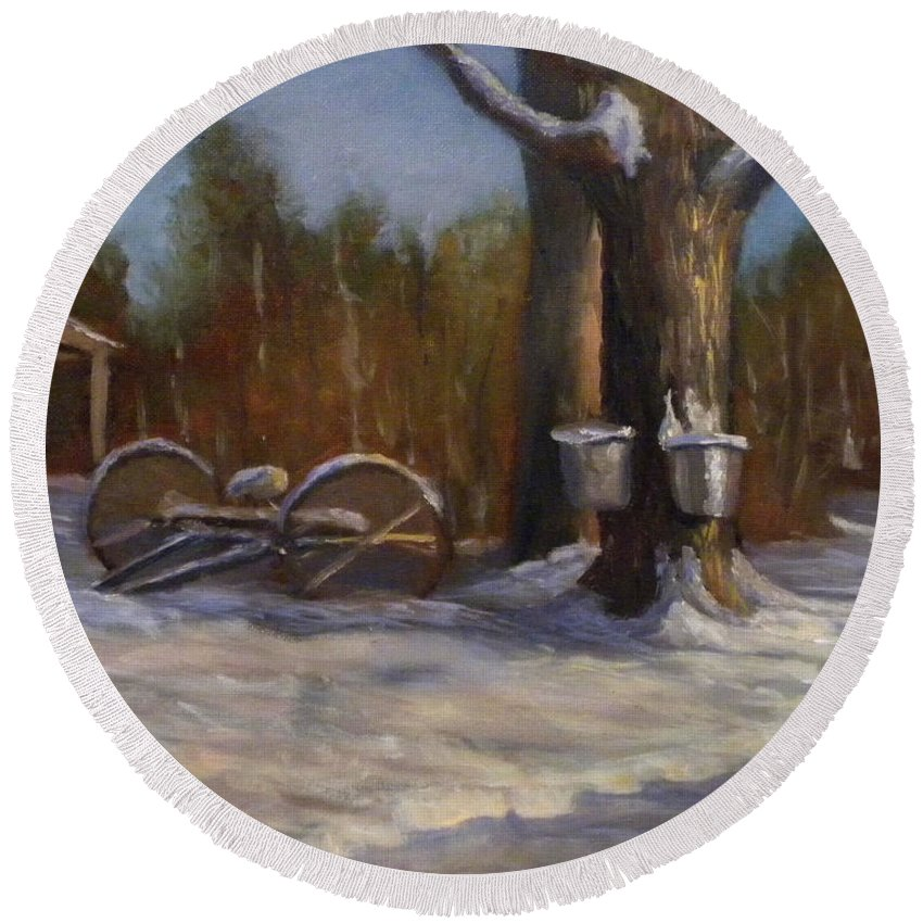 Sap Buckets Round Beach Towel featuring the painting Sure SIgns of Spring by Sharon E Allen