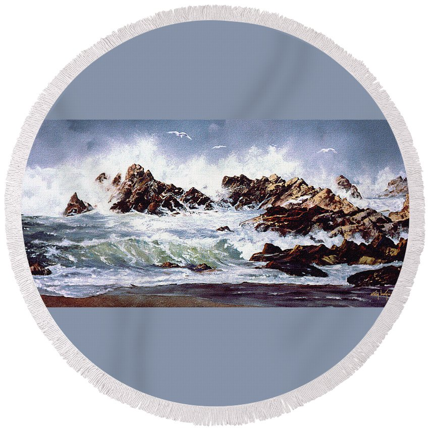 Lincoln City Round Beach Towel featuring the painting Surf At Lincoln City by Craig Burgwardt