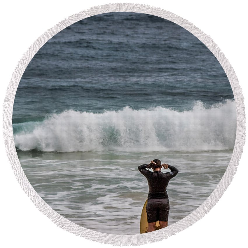 Merritt Island Round Beach Towel featuring the photograph Surfer Checking The Waves by Mark Fuge
