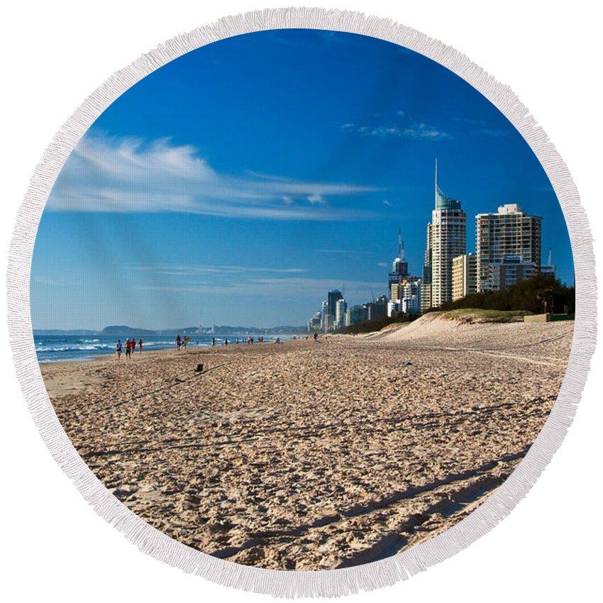 Gold Coast Round Beach Towel featuring the photograph Surfers Beach by Darren Burton