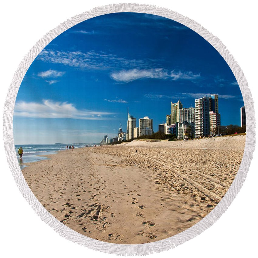Gold Coast Round Beach Towel featuring the photograph Surfers Paradise Beach By Day by Darren Burton