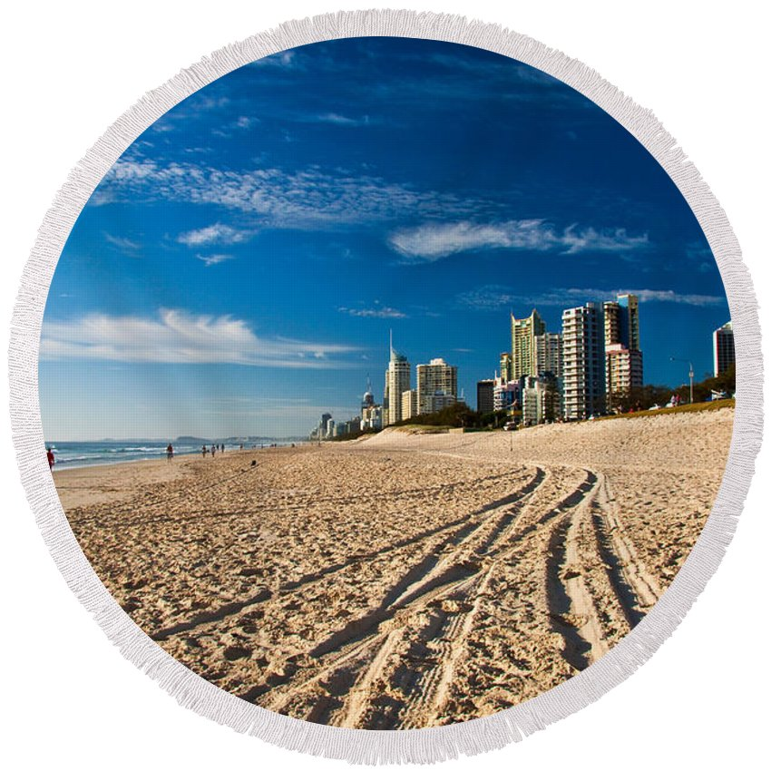 Gold Coast Round Beach Towel featuring the photograph Surfers Paradise Beach South by Darren Burton