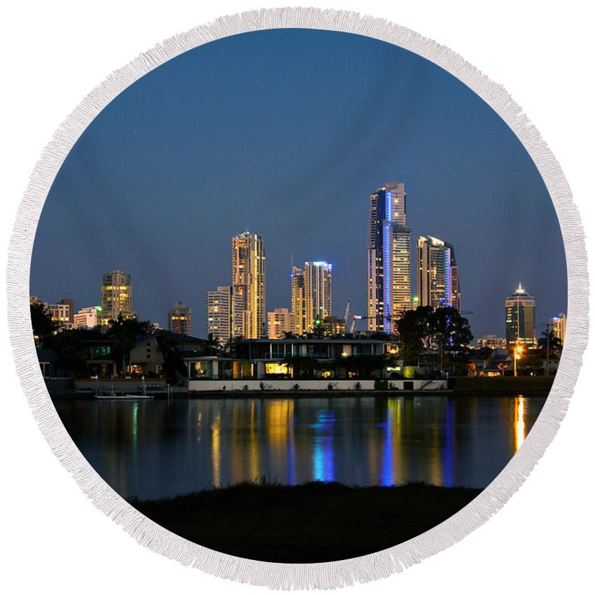 Surfers Paradise Round Beach Towel featuring the photograph Surfers Paradise By Night by Darren Burton