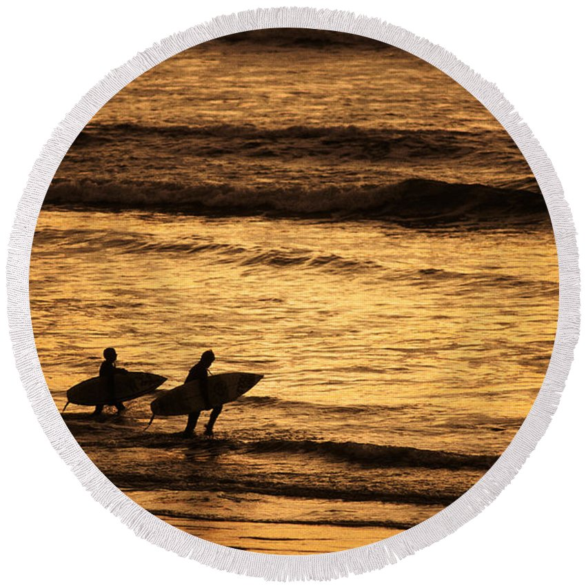 People Round Beach Towel featuring the photograph Surfers by Ron Sanford