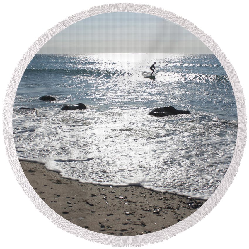 Cornwall Round Beach Towel featuring the photograph Surfing Mercury by Terri Waters