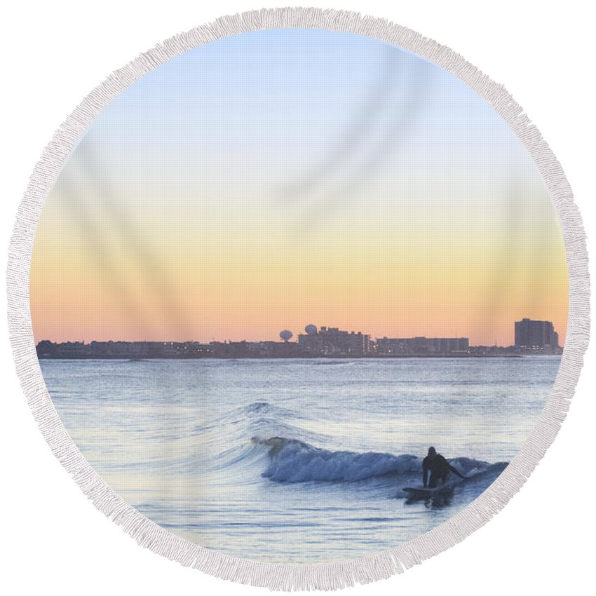 Surfing Round Beach Towel featuring the photograph Surfing - Ocean City New Jersey by Bill Cannon