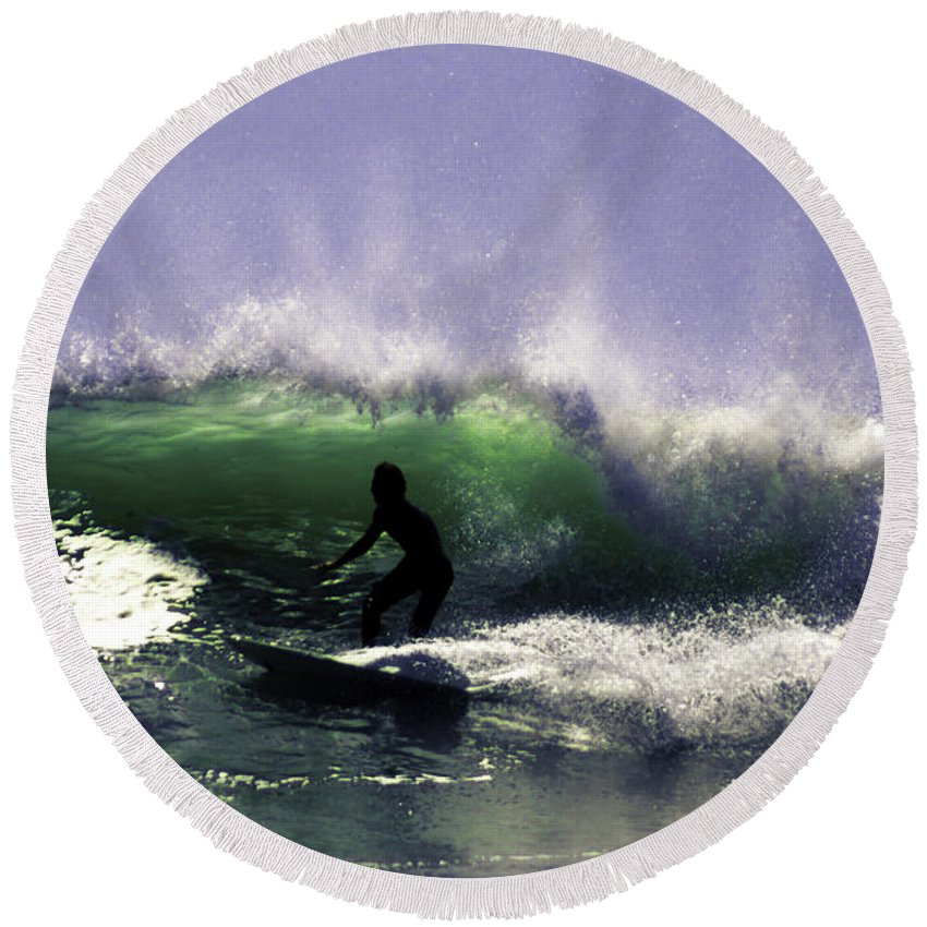 Surf Round Beach Towel featuring the photograph Surfing Pt. Judith by Joe Geraci