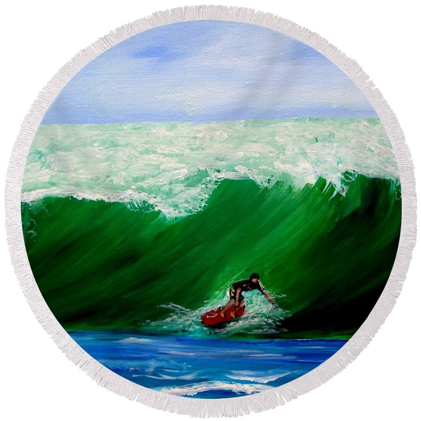 Surfing Round Beach Towel featuring the painting Surf's Up Surfing Wave Ocean by Katy Hawk