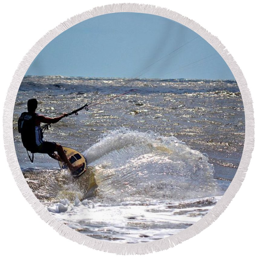 Surf Round Beach Towel featuring the photograph Surf's Up by Tara Potts