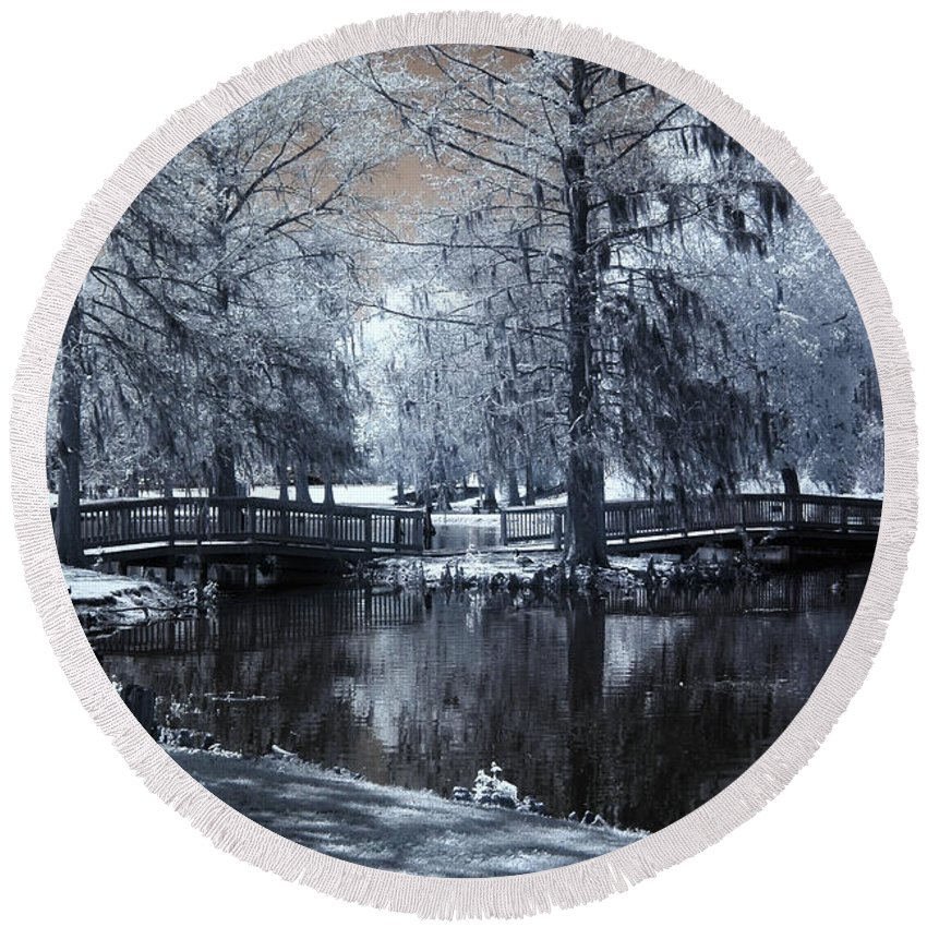 Infrared Round Beach Towel featuring the photograph Surreal Dreamy Fantasy Nature Infrared Landscape - Edisto Park South Carolina by Kathy Fornal
