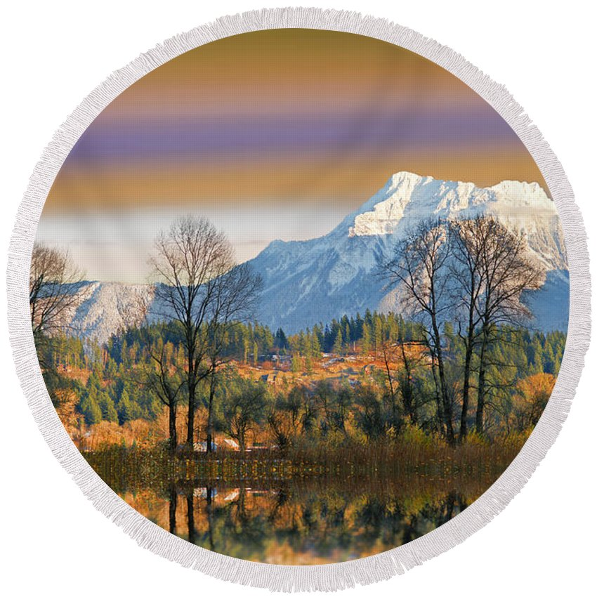 Scenic Round Beach Towel featuring the photograph Surreal Landscape-hdr by Randy Harris